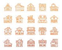 Het pictogram buiten vectorreeks van de huis eenvoudige rassenbarrière stock illustratie