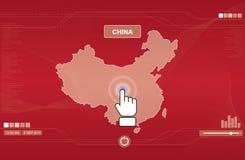 Het pictogram dat van de hand de kaart van China duwt stock illustratie