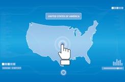 Het pictogram dat van de hand de V.S.kaart duwt stock illustratie