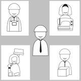 Het pictogram, de man en de vrouw van het arbeiderssymbool royalty-vrije illustratie