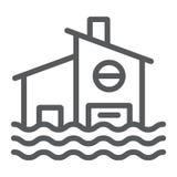 Het pictogram, de ramp en het huis van de vloedlijn, overstroomden huisteken, vectorafbeeldingen, een lineair patroon op een witt vector illustratie