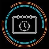 Het pictogram, de tijd en de klok van de kalenderbenoeming royalty-vrije illustratie