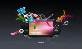 Het pictogram is een populair apparaat om spelen te spelen. Stock Afbeeldingen