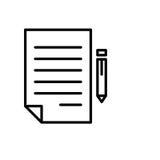 Het pictogram of het embleem van het premiedocument in lijnstijl Stock Fotografie