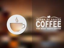 Het pictogram en de tekstontwerp van de koffiekop met een vage achtergrond Stock Foto