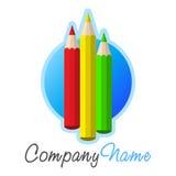 Het pictogram en het embleemontwerp van kleurpotloden royalty-vrije illustratie