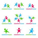 Het pictogram en het embleemontwerp van mensen Stock Foto