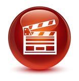 Het pictogram glazige bruine ronde knoop van de bioskoopklem Stock Foto