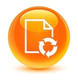 Het pictogram glazige oranje ronde knoop van het documentproces stock illustratie