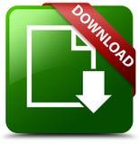 Het pictogram groene vierkante knoop van het downloaddocument Stock Foto