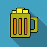 Het pictogram heldere kleurrijke eenvoudig van de biermok Stock Foto's