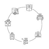 Het pictogram infographic reeks van de lijnkunst voor zich het Bewegen De dunne pictogrammen van de lijnkunst Vlakke geïsoleerde  Royalty-vrije Stock Foto