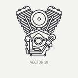 Het pictogram klassieke fiets v van de lijn vlakke duidelijke vectormotorfiets machtsmotor Legendarische retro De stijl van het b Royalty-vrije Stock Foto's