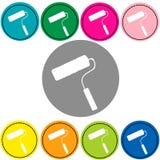 Het pictogram kleurrijke vector van de verfrol Stock Foto