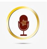 Het pictogram met een uitstekende microfoon en een gouden ster Royalty-vrije Stock Afbeelding