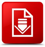 Het pictogram rode vierkante knoop van het downloaddocument Stock Foto