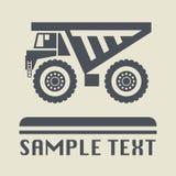 Het pictogram of het teken van de stortplaatsvrachtwagen royalty-vrije illustratie