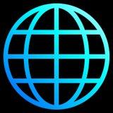 Het pictogram van het bolsymbool - cyaan blauwe geïsoleerde gradiënt, - vector royalty-vrije illustratie