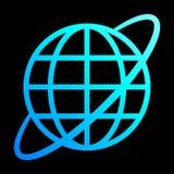 Het pictogram van het bolsymbool met baan - cyaan blauwe geïsoleerde gradiënt, - vector stock illustratie
