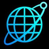 Het pictogram van het bolsymbool met baan en satelliet - cyaan blauwe geïsoleerde gradiënt, - vector royalty-vrije illustratie