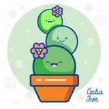 Het pictogram van het cactusembleem Stock Afbeelding