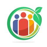 Het pictogram van het cirkelembleem voor gemeenschap met vegetarische levensstijl, gezonde levensstijl Stock Afbeeldingen