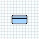 Het Pictogram van het Creditcardsymbool op Document Notaachtergrond, Media Pictogram voor Technologiemededeling en Bedrijfse-comm vector illustratie