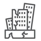 Het pictogram van de aardbevingslijn, ramp en schade, het teken van de huisneerstorting, vectorafbeeldingen, een lineair patroon  stock illustratie