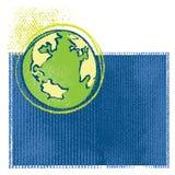 Het pictogram van de aarde, de eenvoudige tekening van het grungekrijt Stock Afbeeldingen