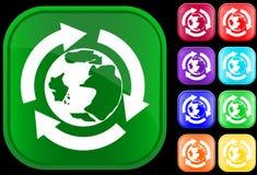 Het pictogram van de aarde in het recycling van cirkel Stock Foto
