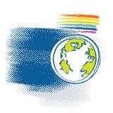 Het pictogram van de aarde, inbegrepen regenboogsymbool Stock Foto's