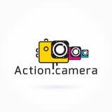 Het pictogram van de actiecamera, kleurrijke vectorillustratie, Logo Template Stock Foto's
