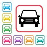Het pictogram van de auto Zwarte en gekleurde silhouetten Vector vector illustratie