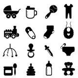 Het pictogram van de baby dat in zwarte wordt geplaatst Royalty-vrije Stock Afbeeldingen