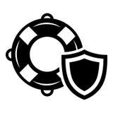 Het pictogram van de badmeesterbescherming, eenvoudige zwarte stijl Stock Afbeelding
