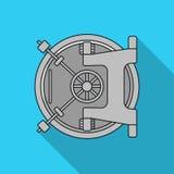 Het pictogram van de bankkluis in vlakke stijl op witte achtergrond Geld en de voorraad vectorillustratie van het financiënsymboo Stock Foto