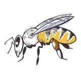 Het pictogram van de bijenbijenstal, honingsproduct en imkerij stock illustratie