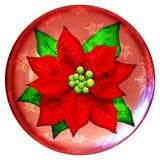Het Pictogram van de Bol van het Kristal van de Poinsettia van Kerstmis   Stock Fotografie