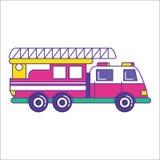 Het pictogram van de brandvrachtwagen in in vlakke lijnstijl Heldere brandbestrijding v Stock Afbeelding