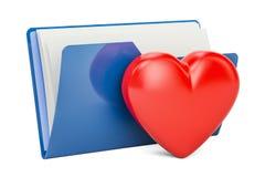 Het pictogram van de computeromslag met rood hart, het 3D teruggeven Royalty-vrije Stock Afbeeldingen
