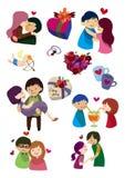 Het pictogram van de Dag van de Valentijnskaart van het beeldverhaal Stock Afbeeldingen
