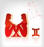 Het pictogram van de de dierenriemastrologie van Tweeling voor horoscoop Stock Afbeelding