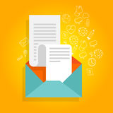 Het pictogram van de de enveloprekening van de bulletinbevordering Stock Afbeelding
