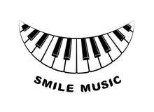 Het pictogram van de de pianoglimlach van het muziekembleem, eenvoudige stijl Royalty-vrije Stock Afbeelding