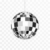 Het pictogram van de discobal Symboolnachtleven Retro discopartij Vectordieillustratie op transparante achtergrond wordt ge?solee royalty-vrije illustratie