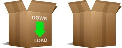 Het pictogram van de download en lege kartondozen Royalty-vrije Stock Fotografie
