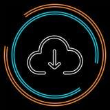 Het pictogram van de downloadwolk, vectordownloadillustratie, wolk gegevensverwerking royalty-vrije illustratie