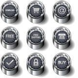 Het pictogram van de elektronische handel dat op vectorknopen wordt geplaatst Stock Afbeelding