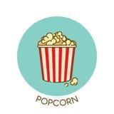 Het pictogram van de filmpopcorn in stijl van het overzichts de vlakke ontwerp Vector illustratie Stock Foto's