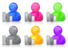 Het pictogram van de gebruiker met grafiek Stock Foto's